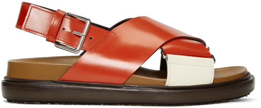 Marni Red and White Fussbett Sandals