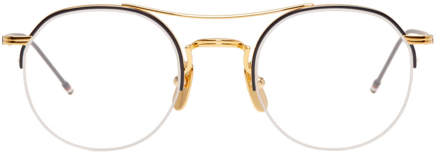 2a81516fd21 Thom Browne Gold and Navy Tb 903 Glasses