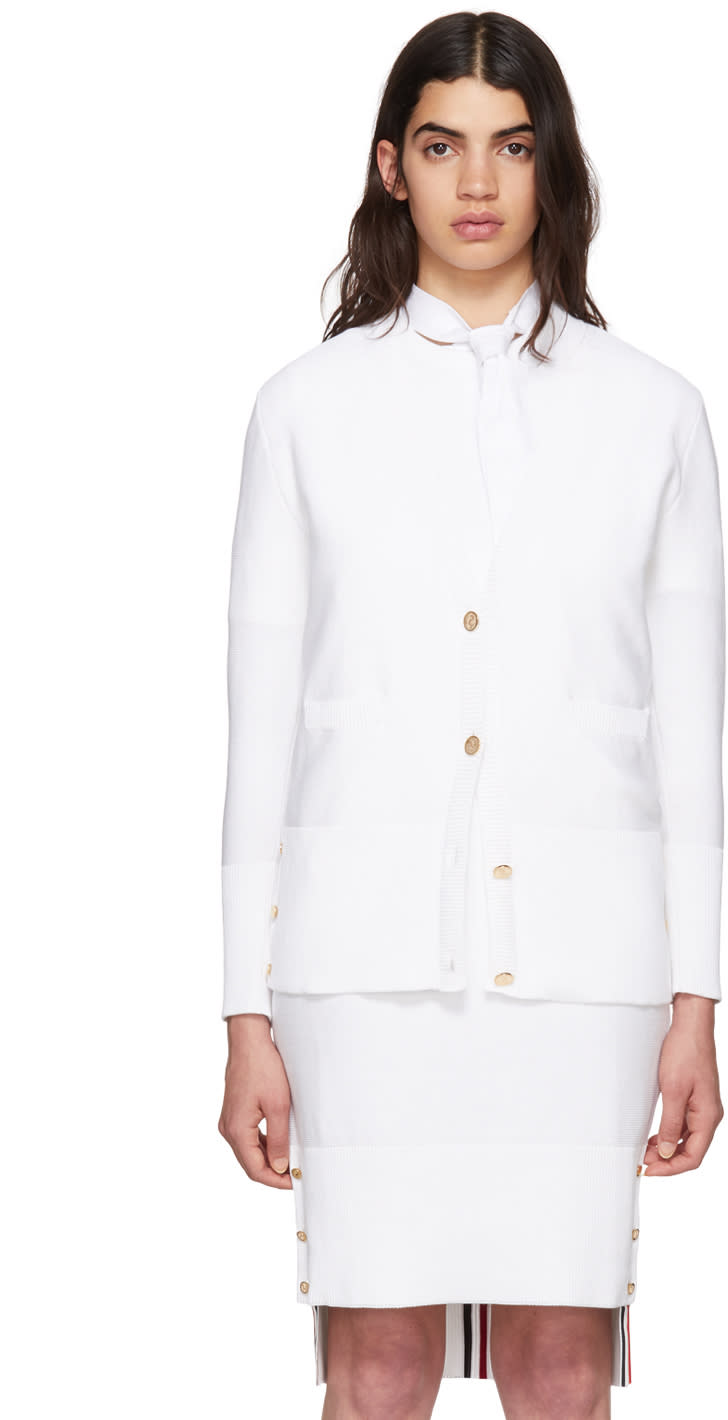 Thom Browne White Links Links Crewneck Cardigan