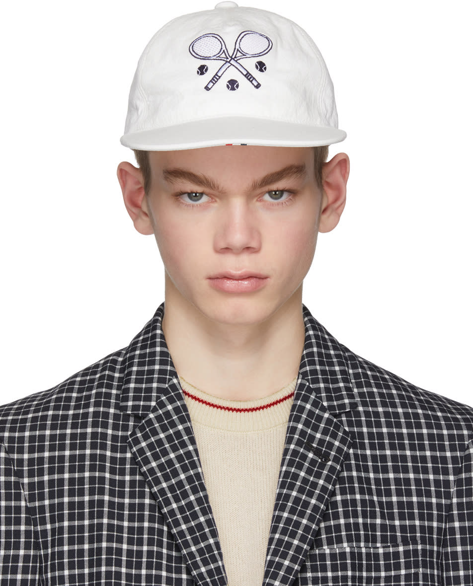 Thom Browne White Tennis Cap 485632401258