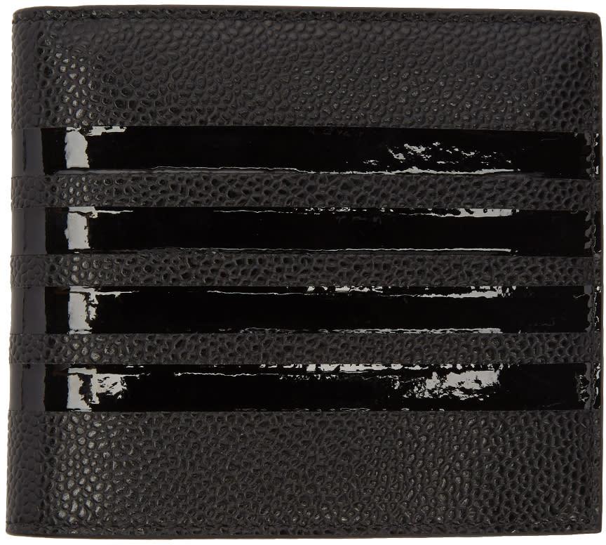Thom Browne Portefeuille Bi-volet Noir Patent Four Bar