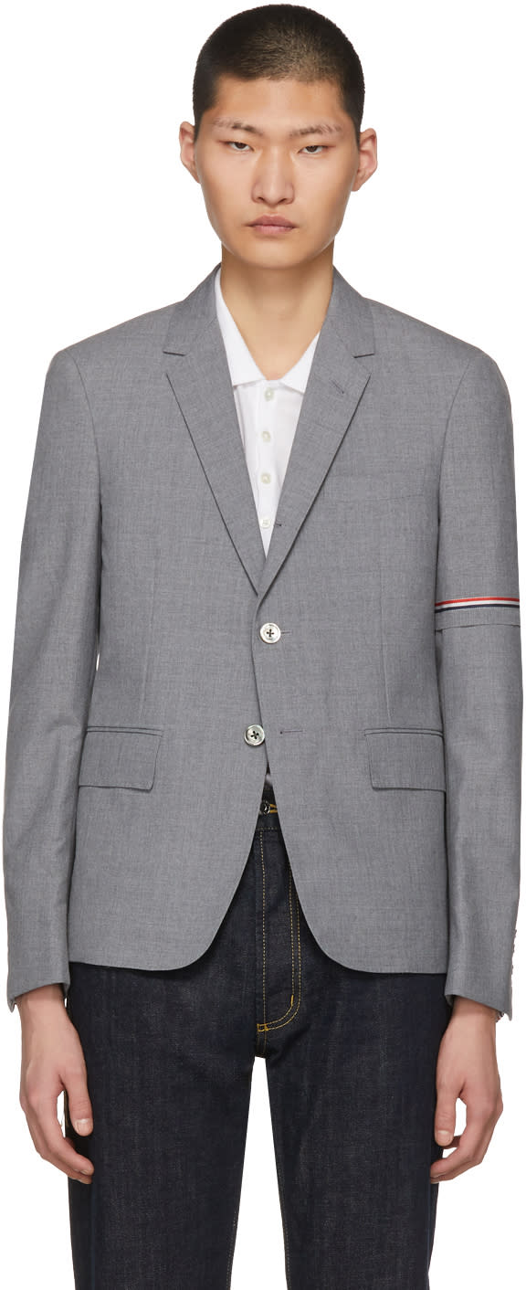Thom Browne Grey Selvedge Arm Placement Blazer