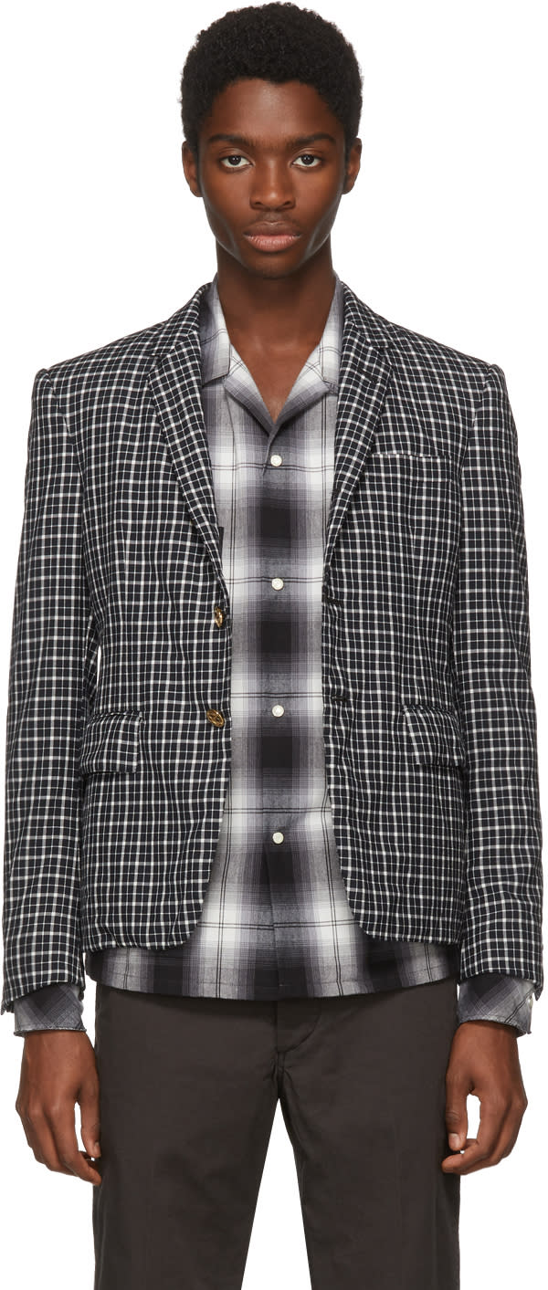 Image of Thom Browne Black and White Distressed Tartan High Armhole Blazer