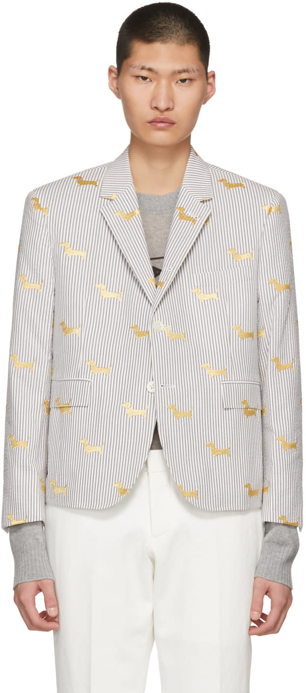 Thom Browne Grey Little Boy Hector Seersucker Blazer