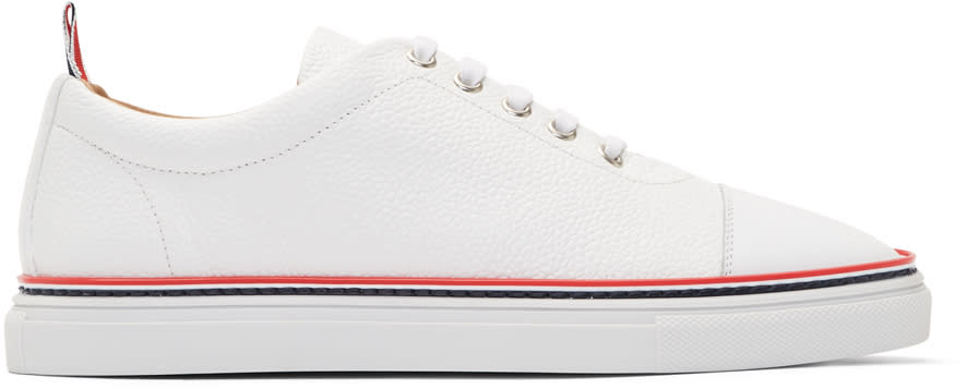 Thom Browne White Straight Toe Cap Sneakers