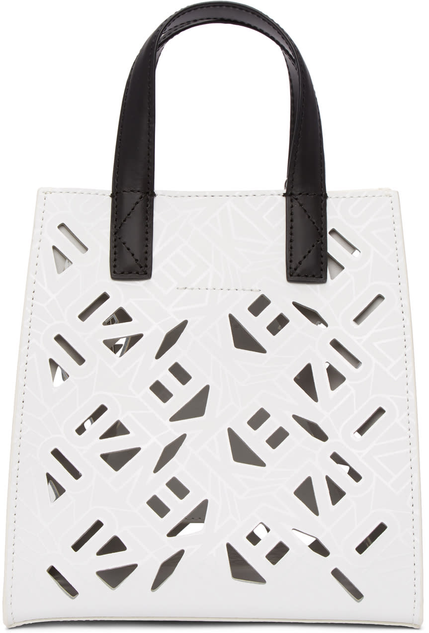 fe6d9067 Kenzo White Mini Cut out Logo Tote