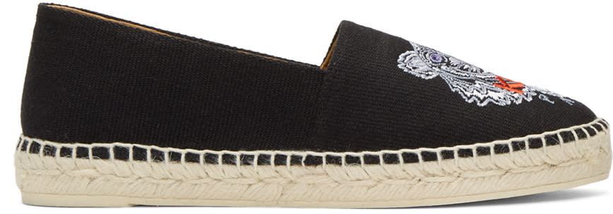 Image of Kenzo Black Canvas Classic Tiger Espadrilles