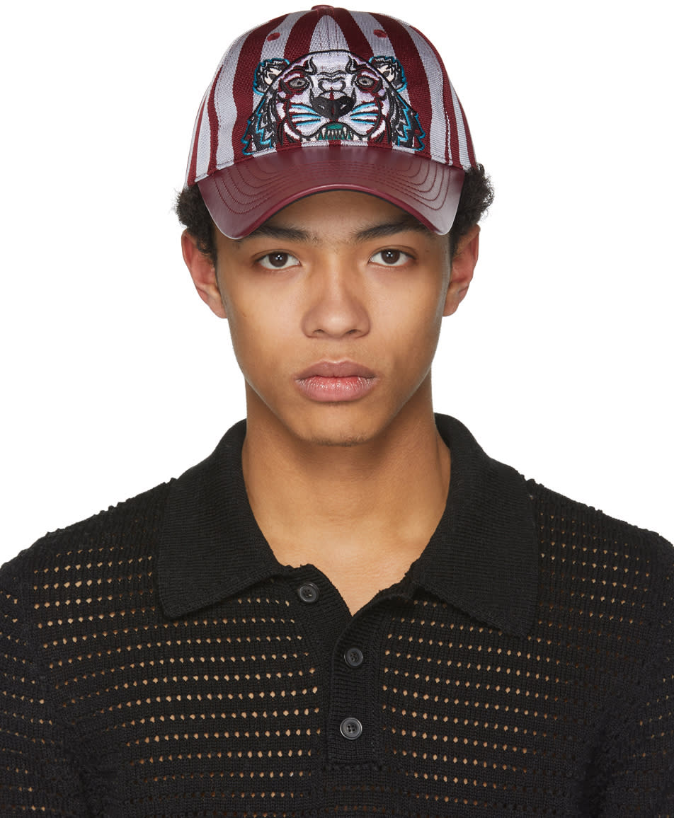 e97a4de4 Kenzo Burgundy Striped Canvas and Leather Tiger Cap