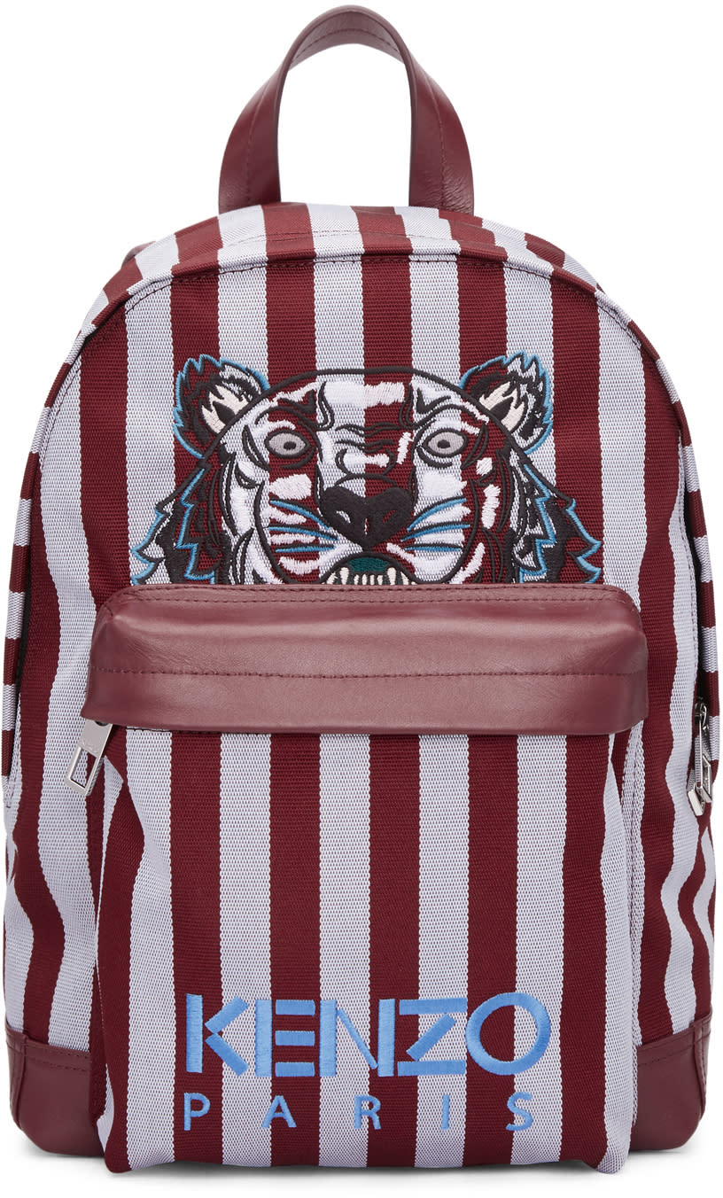 177deb755 Kenzo Burgundy and Blue Small Striped Tiger Backpack
