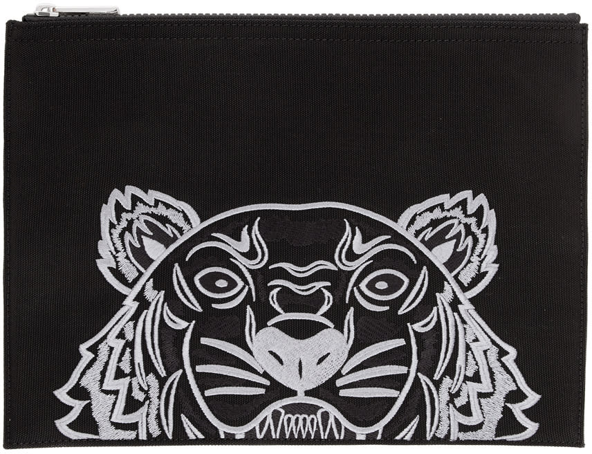 Image of Kenzo Black Canvas A4 Tiger Pouch