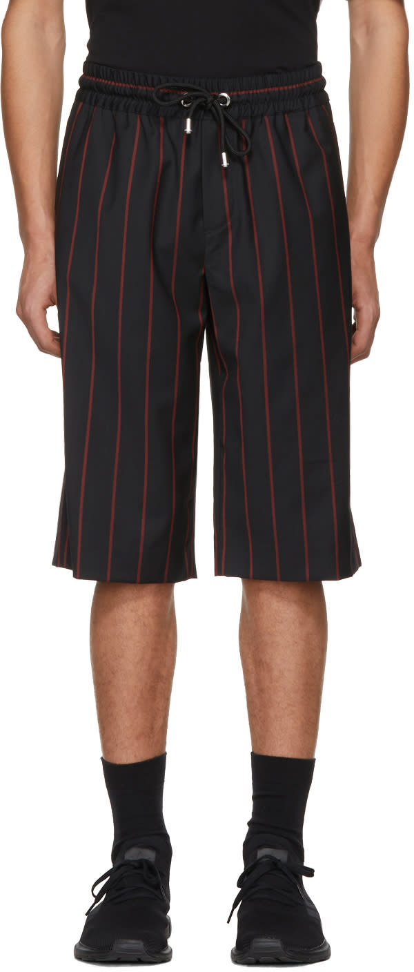 Image of Versus Black and Red Wool Striped Shorts