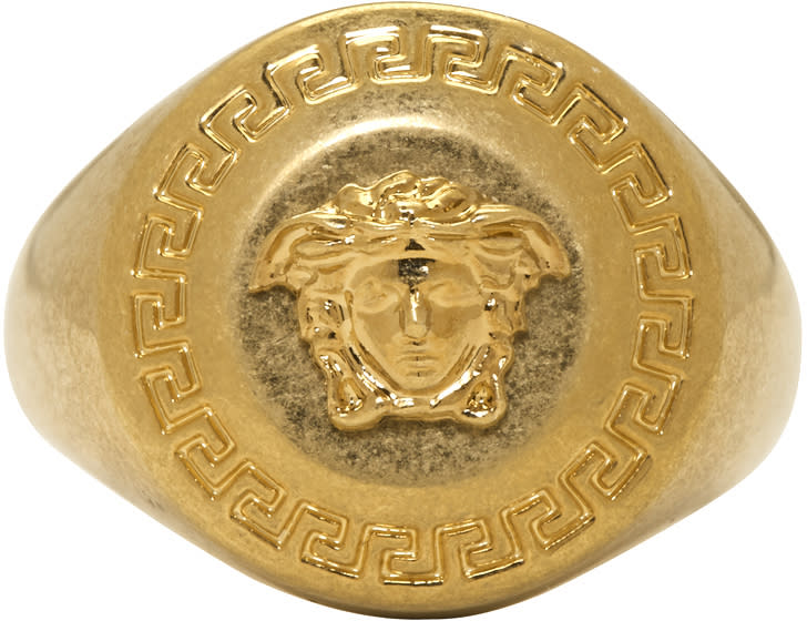3a58998f Versace Gold Small Coin Ring