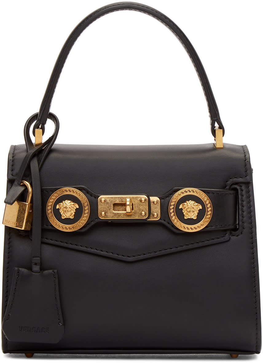 Versace Black Small Icon Logo Double Bag 4aaac09bffd47