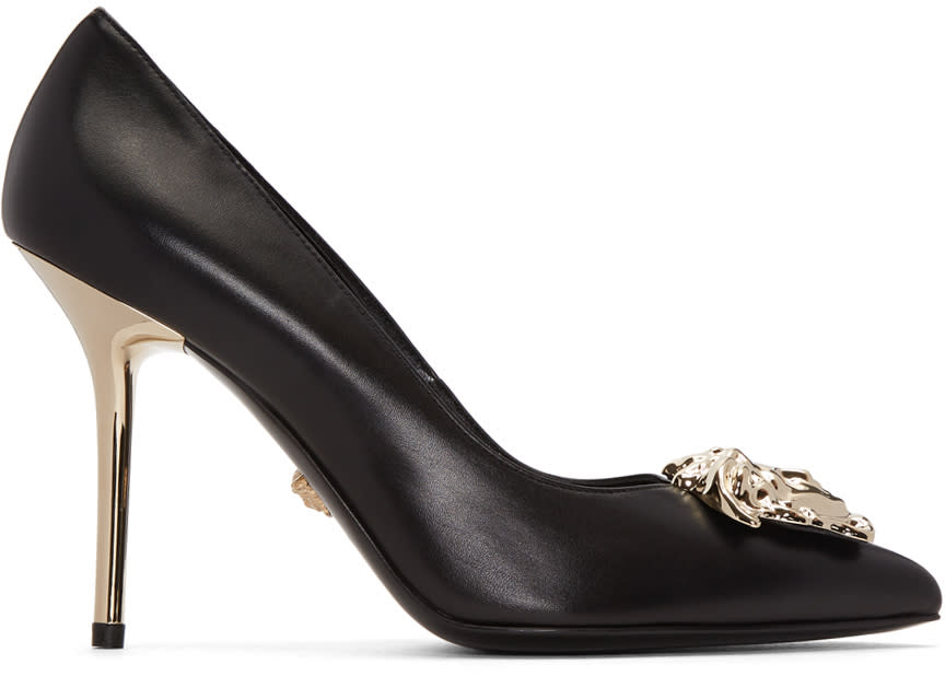 Image of Versace Black and Gold Medusa Heels