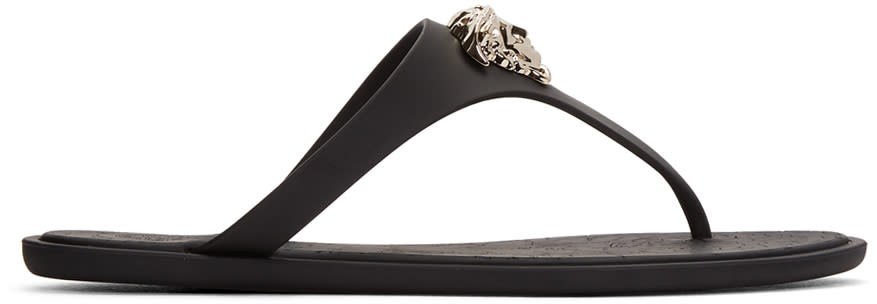 Versace Black Rubber Medusa Sandals