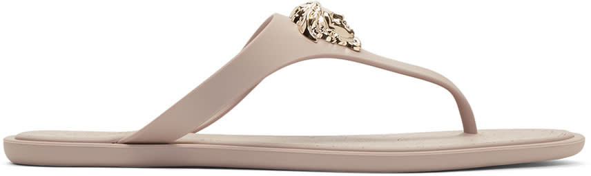 Versace Taupe Rubber Medusa Sandals