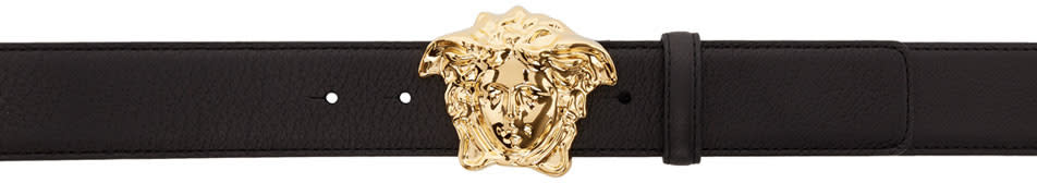 Image of Versace Black and Gold Medusa Belt