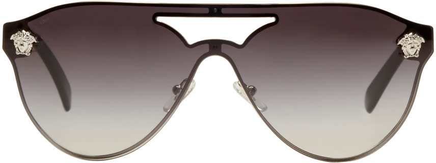 7b5e0896a9a Versace Silver and Black Medusa Visor Sunglasses