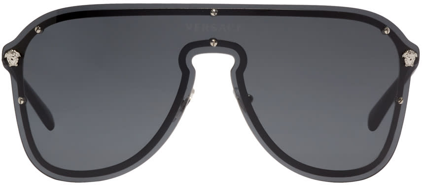 aaa51ce239b Versace Silver and Grey Pilot Sunglasses