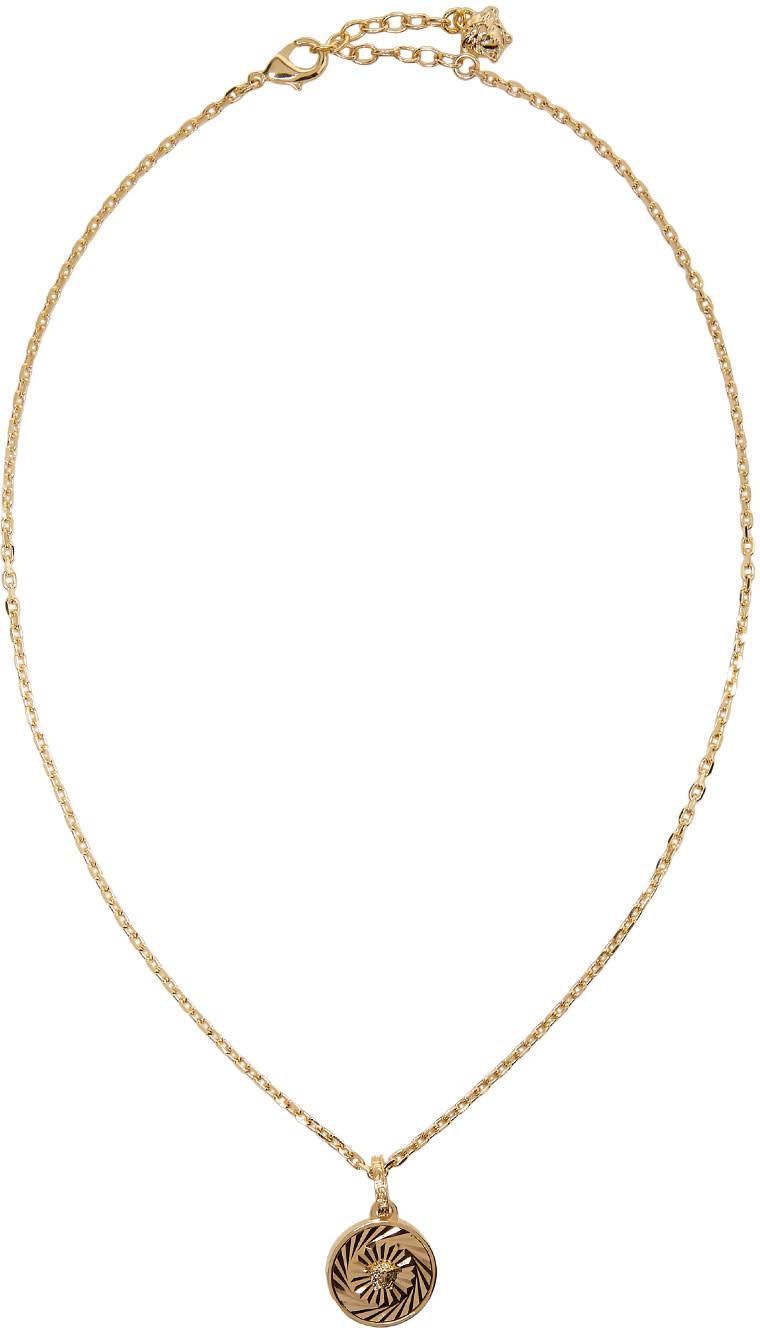 bddb098dec5f1 Versace Gold Small Circular Medusa Pendant Necklace