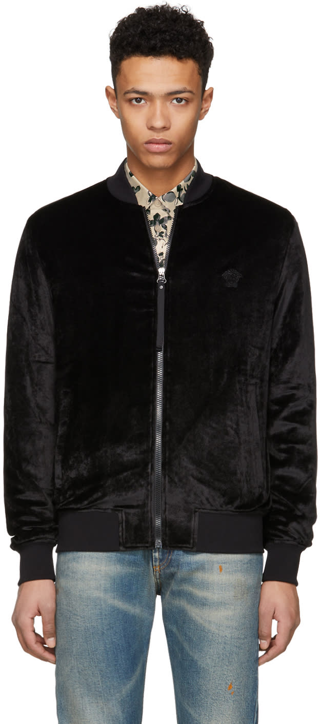 2ebc930d15 Versace Black Chenile Zip up Bomber Jacket