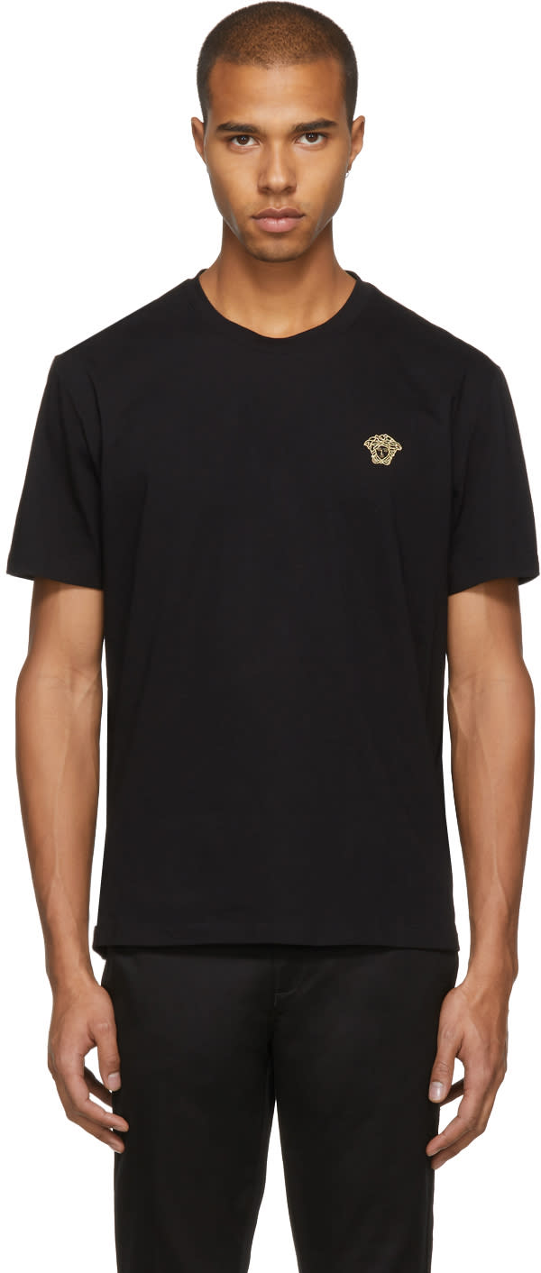 Image of Versace Black and Gold Medusa Head T-shirt