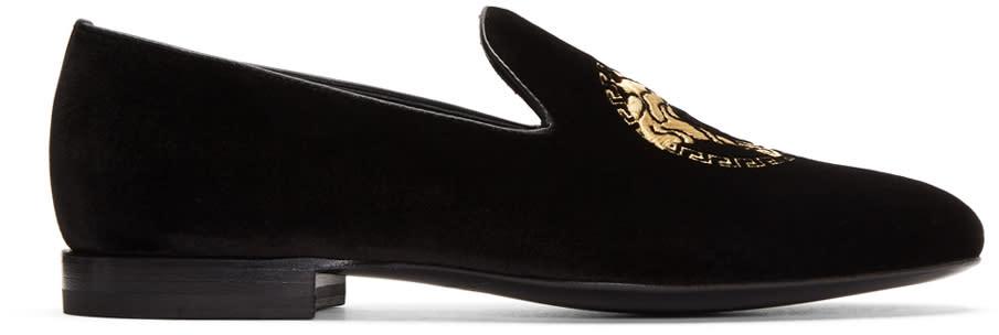Versace Black Velvet Medusa Loafers