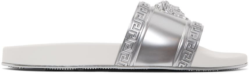 Versace Silver Medusa Pool Slides