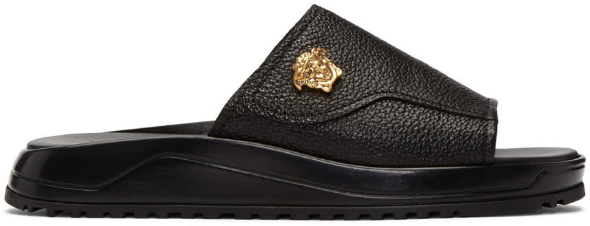 Versace Black Leather Medusa Slides