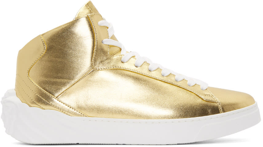 Versace Gold Back Medusa Head High-top Sneakers