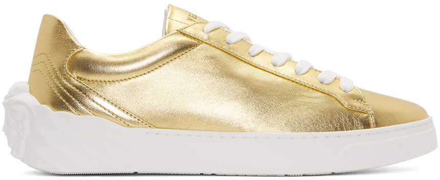 Versace Gold Back Medusa Head Sneakers