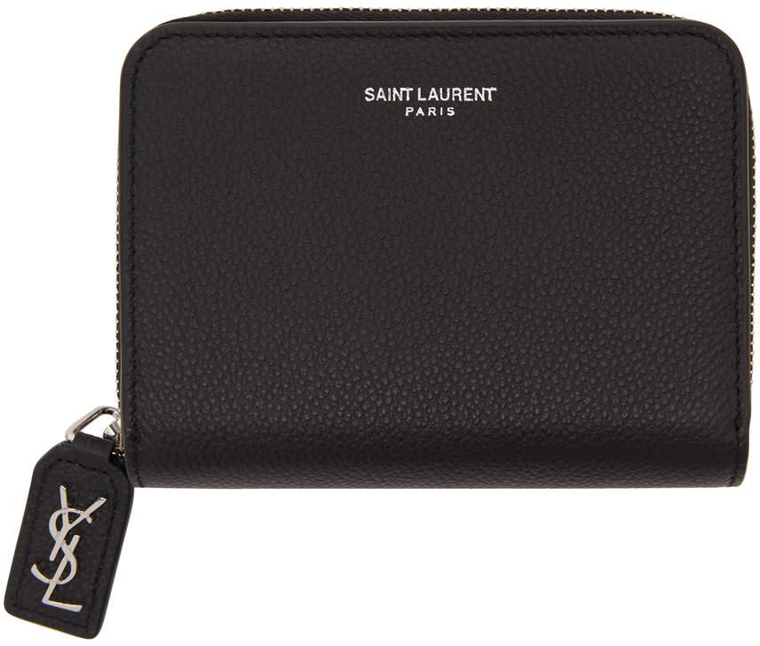 f645fe5b97 Saint Laurent Black Rive Gauche Compact Zip Around Wallet