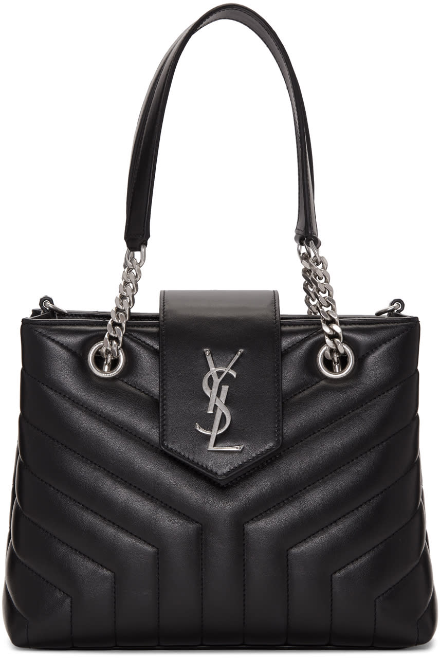 f215c857dfed Saint Laurent Black Small Monogram Loulou Shopping Tote Quilted calfskin  tote in black. Twin curb chain and leather carry handles.