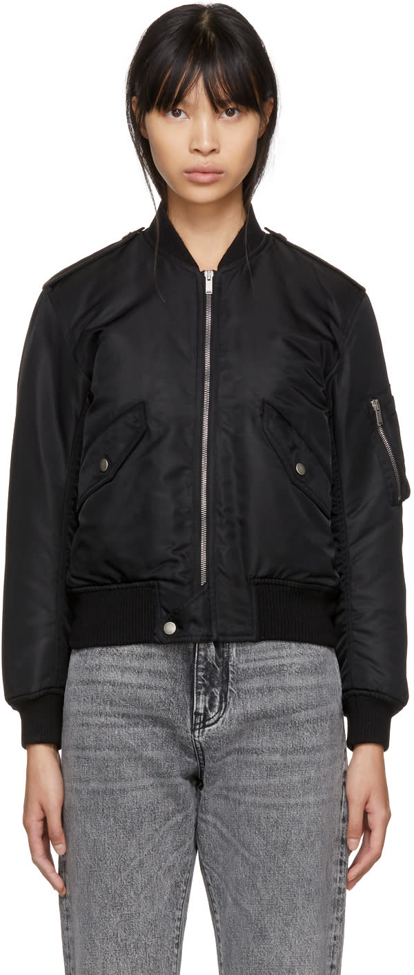 Saint Laurent Black Nylon Bomber Jacket