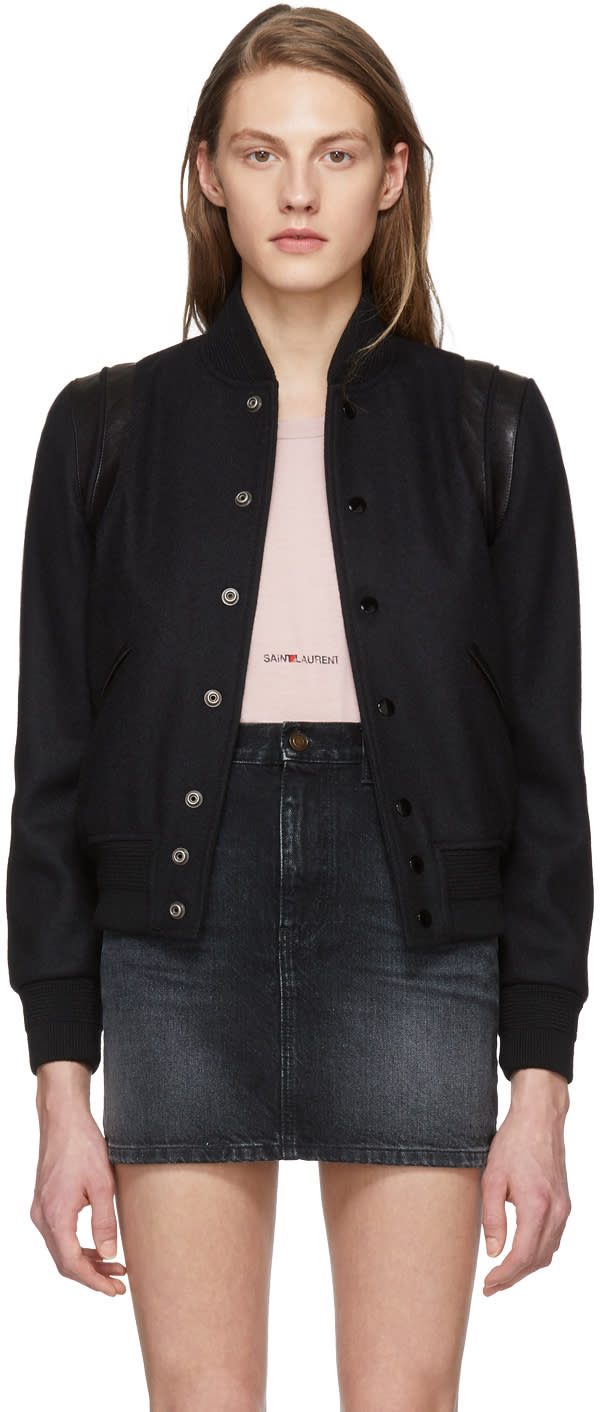 Saint Laurent Black Tonal Teddy Bomber Jacket