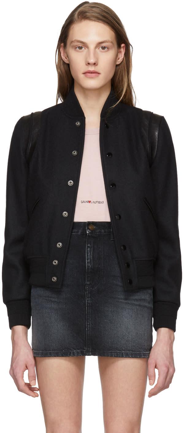 Saint Laurent Black Tonal Teddy Bomber Jacket