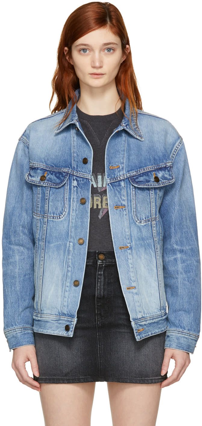 Saint Laurent Blue Oversized Denim Jacket