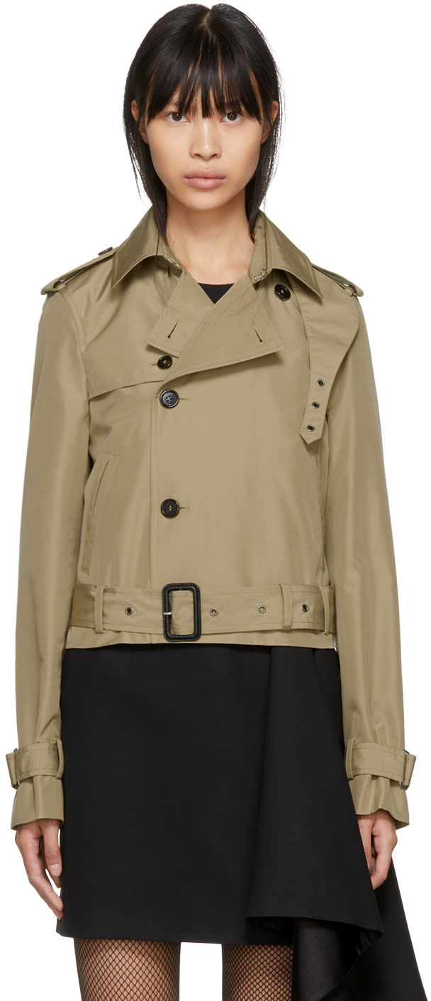 Image of Saint Laurent Beige Cropped Saharienne Trench Coat