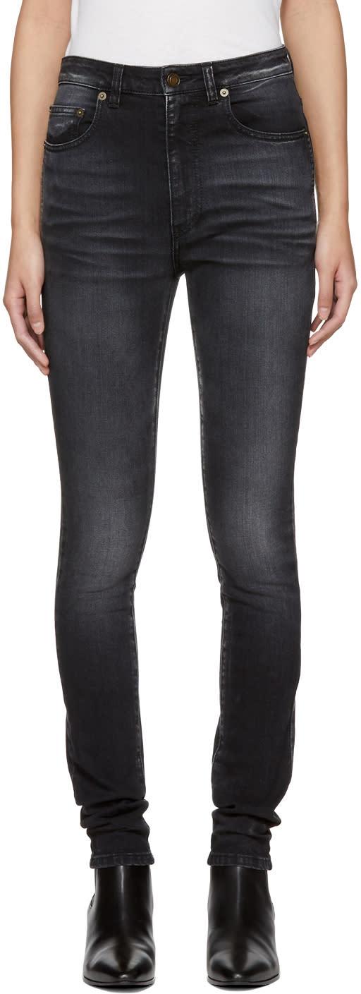 Saint Laurent Black High Waisted Skinny Jeans