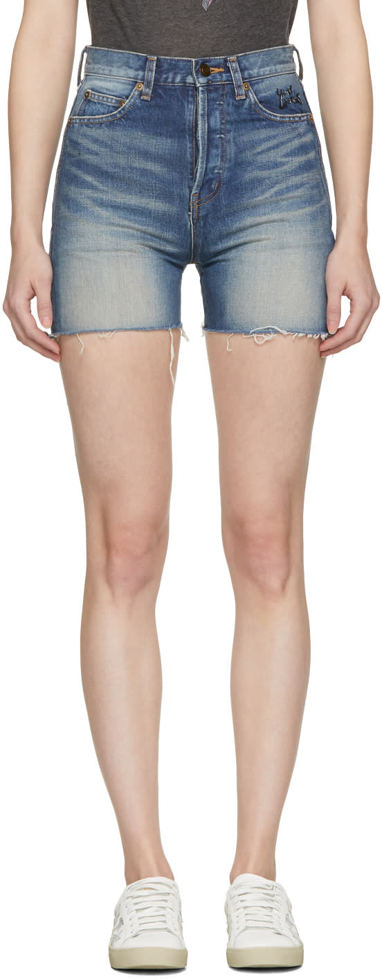 Saint Laurent Blue Denim Embroidered Slim-fit Shorts