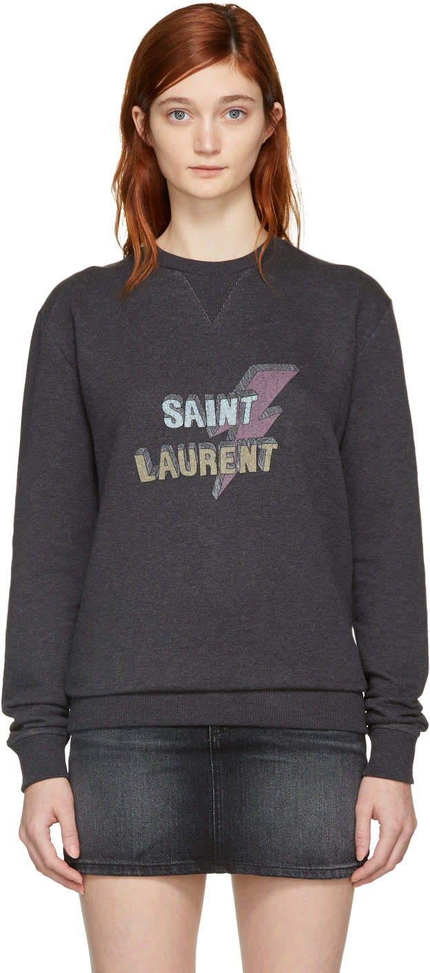 Saint Laurent Grey saint Laurent éclair Sweatshirt