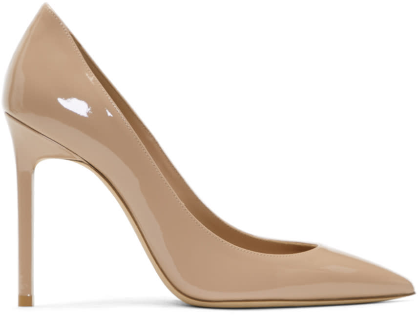 Image of Saint Laurent Beige Patent Anja Heels