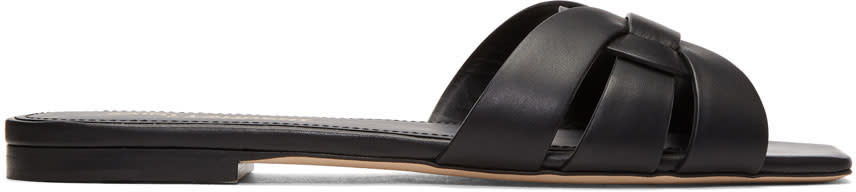 Saint Laurent Black Nu Pieds Band Slides