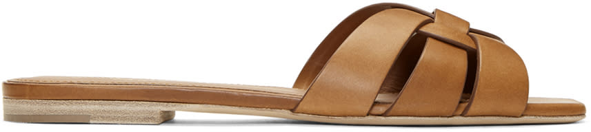 Saint Laurent Brown Nu Pieds Slides