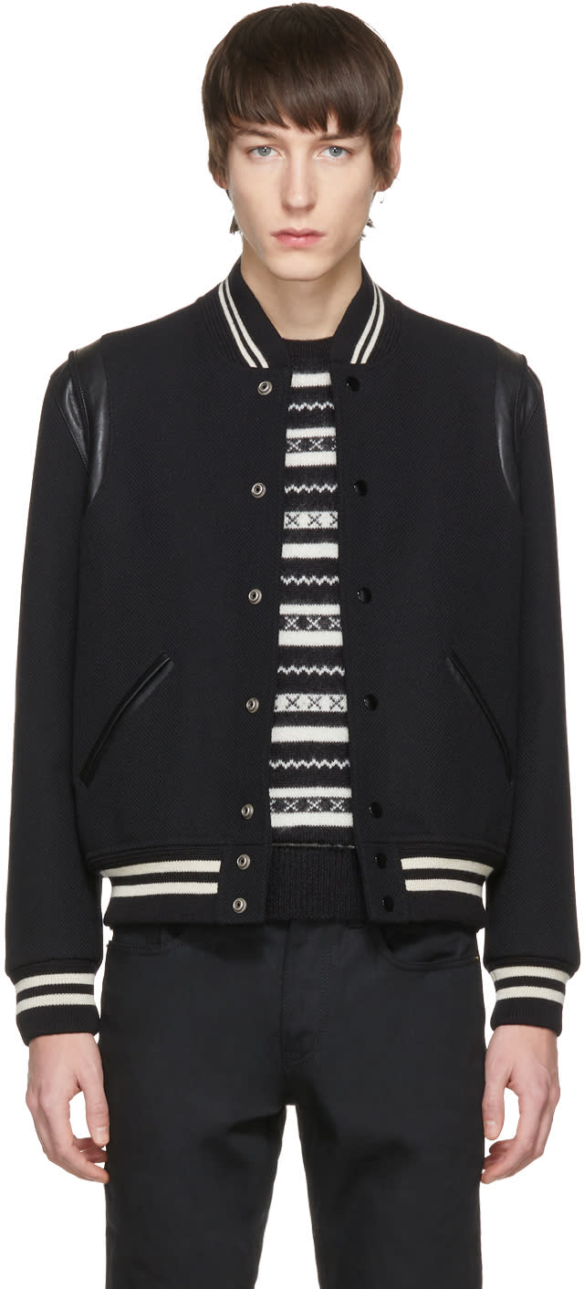 304ca29630 Saint Laurent Black Classic Teddy Bomber Jacket