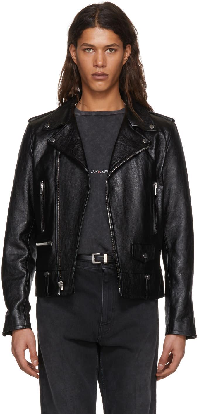 679bc46aa5 Saint Laurent Black Leather Ll 1 Moto Jacket