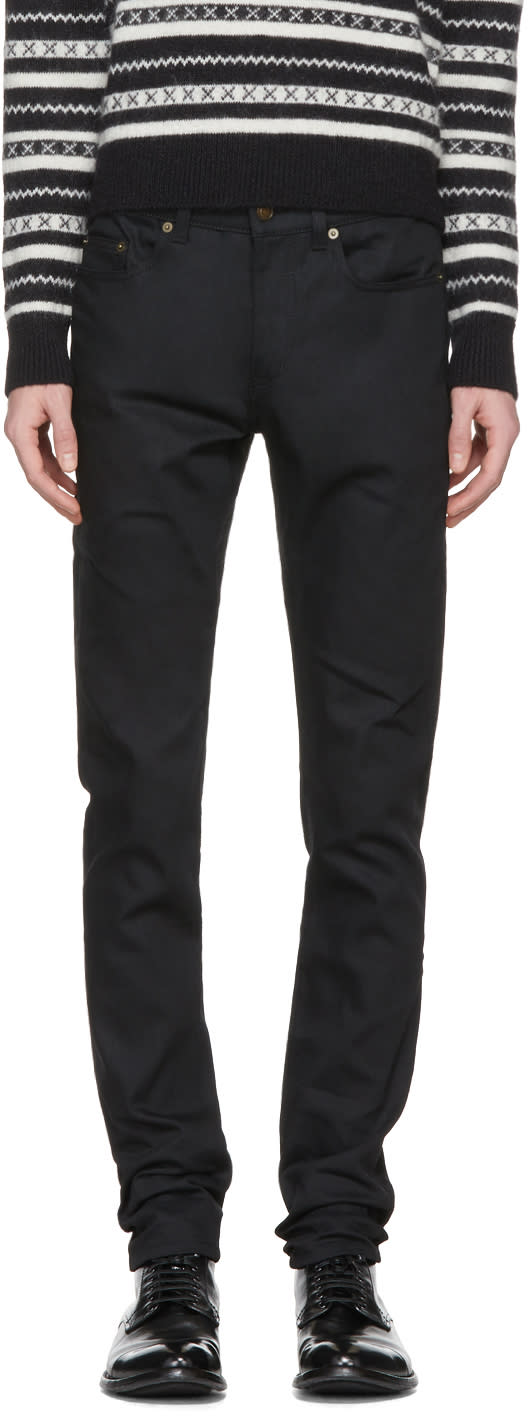 Saint Laurent Black Raw Denim Skinny Jeans