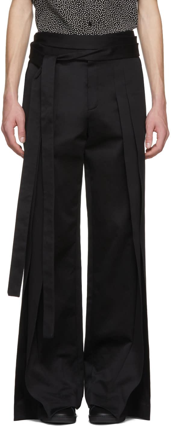 Saint Laurent Pantalon Plissé Noir