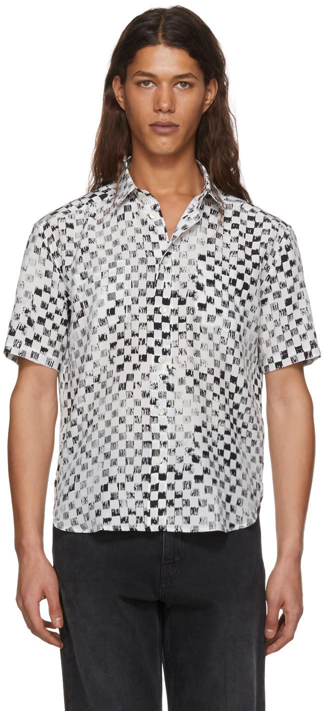 cef168b86b Saint Laurent Black and White Silk Checkerboard Shirt