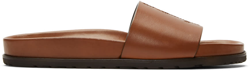 Saint Laurent Brown Jimmy Slide Sandals
